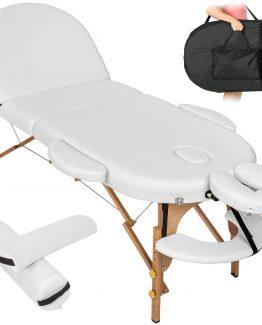 3 delna bela ovalna lesena prenosna masažna miza